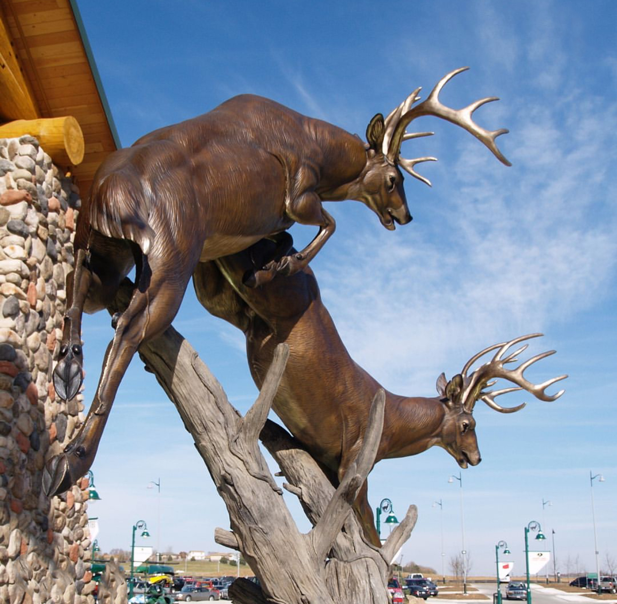 Leap of Faith Deer Bronze Sculpture by John Parsons