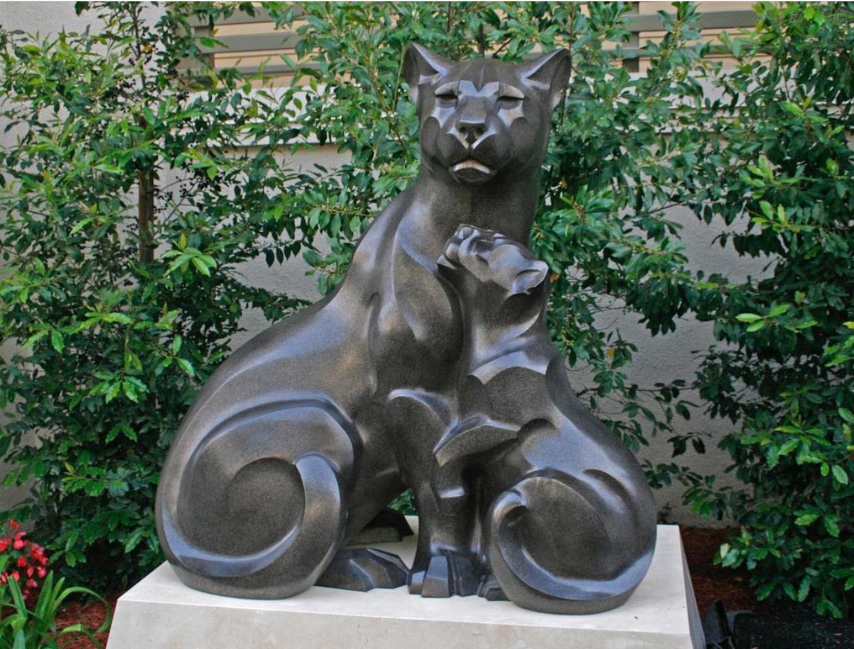 Garden Animal Ornament Panther Pride Bronze Sculpture by Rosetta