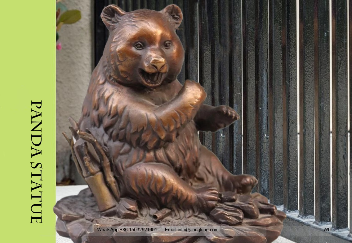 Large Bronze Life Size Statue of Funny Animals Panda Eating Bamboo