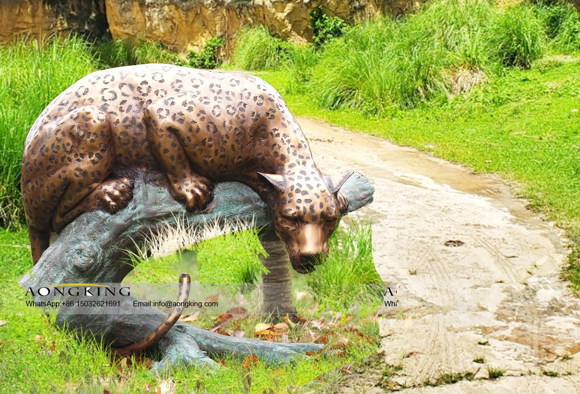 32. Large Outdoor Bronze Subspecies of Amur Leopard Sculpture on Trunk