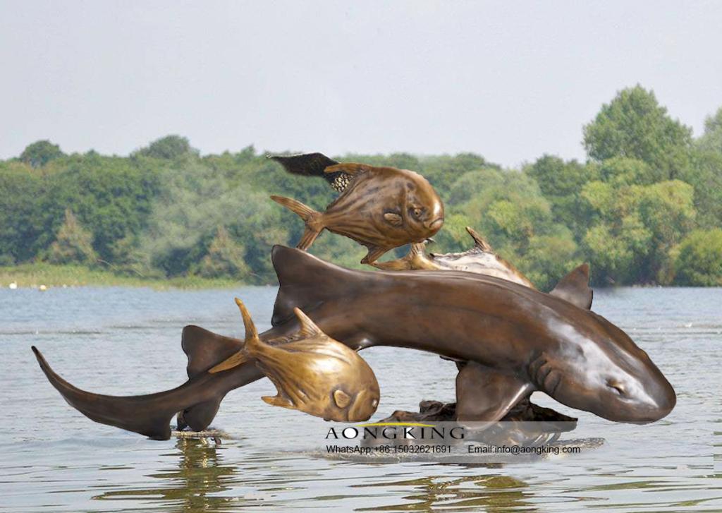 Home Decoration savage animals bronze nurse shark statue