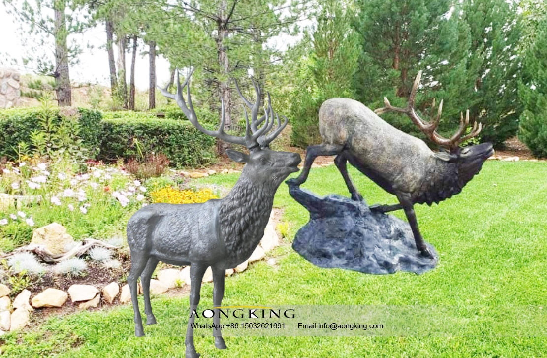 Bronze Garden High Quality Vertebrates Art Elk Statue