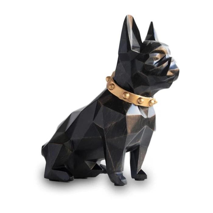 Home Decoration Bulldog Black Geometry Resin Statue