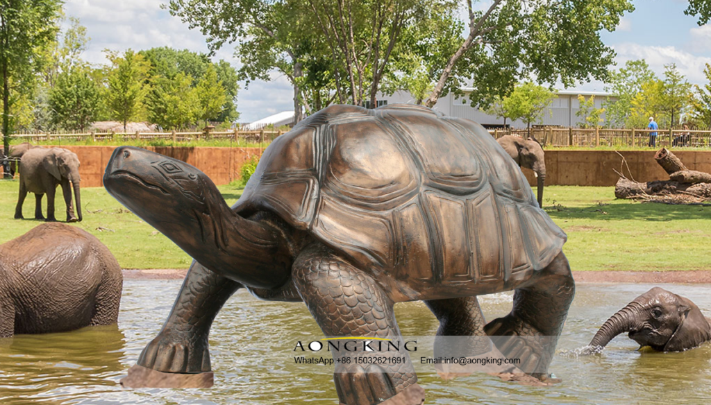 Life Size Animal Garden Statue of Save the Turtles on the Ground