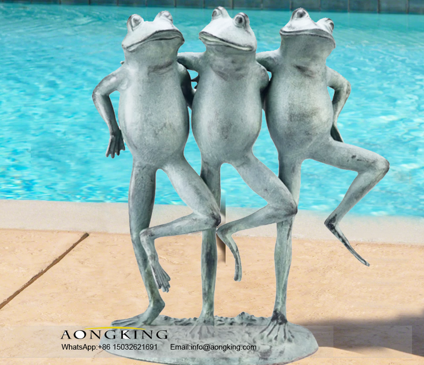 Animals Dancing Frogs Cane Toad Bronze statues