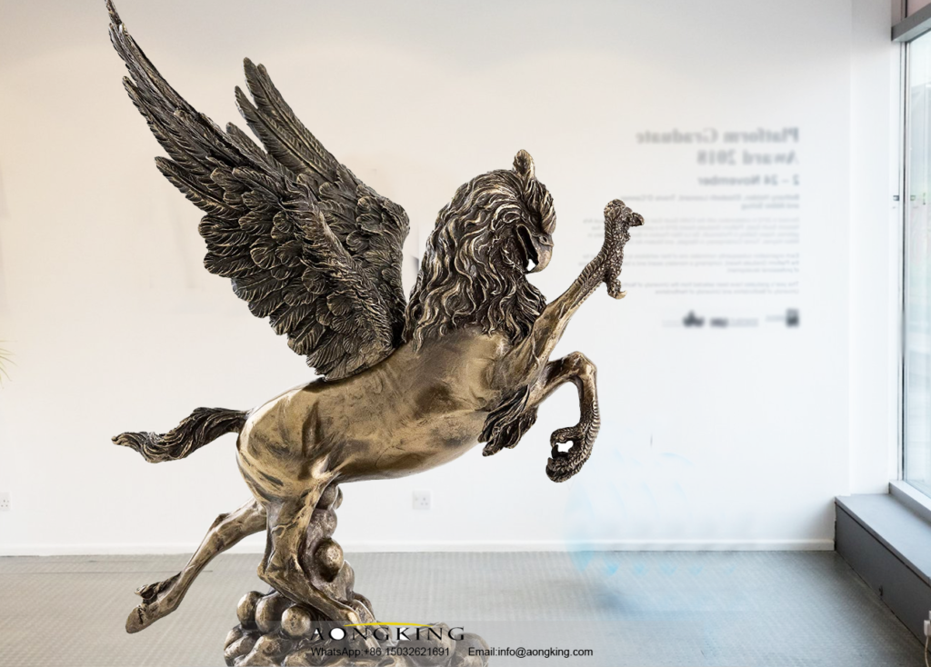 Large Abstract Bronze Animal Flying Griffin Hippogriff Statue