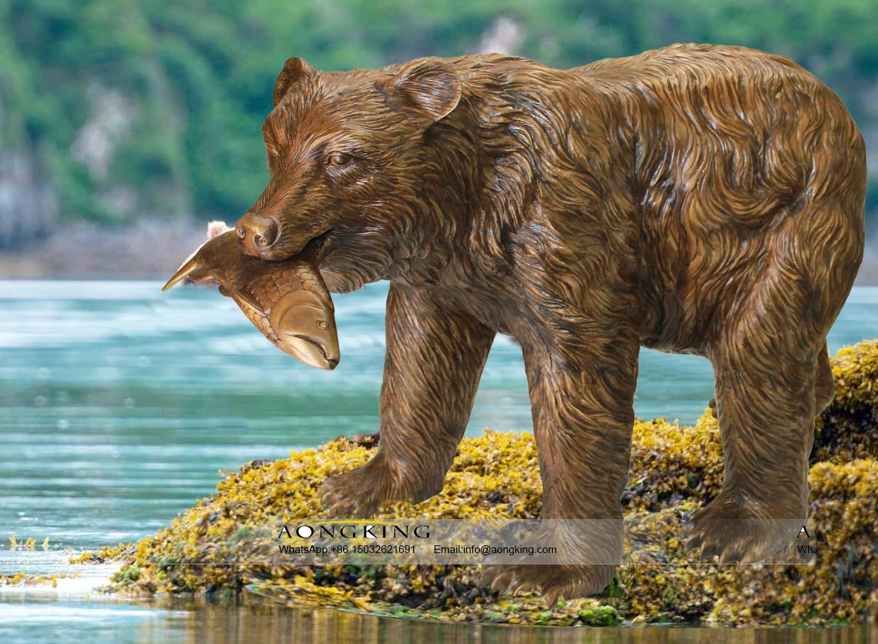 Bronze Large Outdoor Eating Fish Kodiak Bear Sculpture
