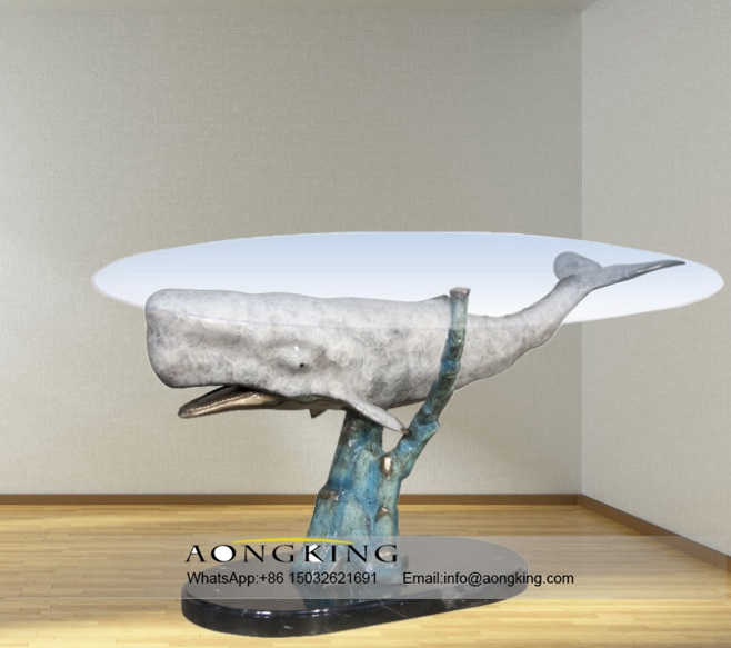 Bronze Modern Fashion Animal Sperm Whale Art Table