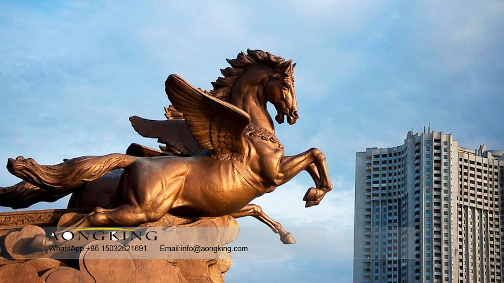 Antique bronze flying horse statue