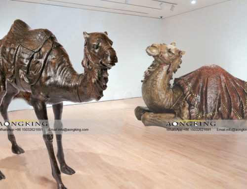 Art gallery decor sculpture of bactrian camel bronze sculpture