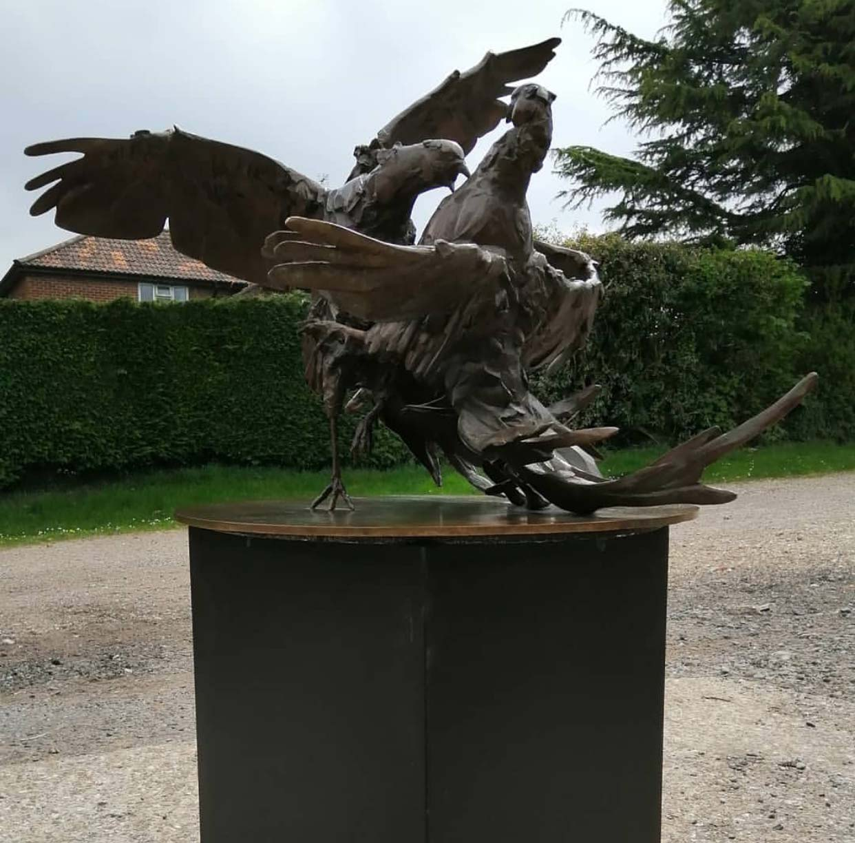 Bronze Large Size Fighting Pheasants Sculpture For Outdoor Decoration