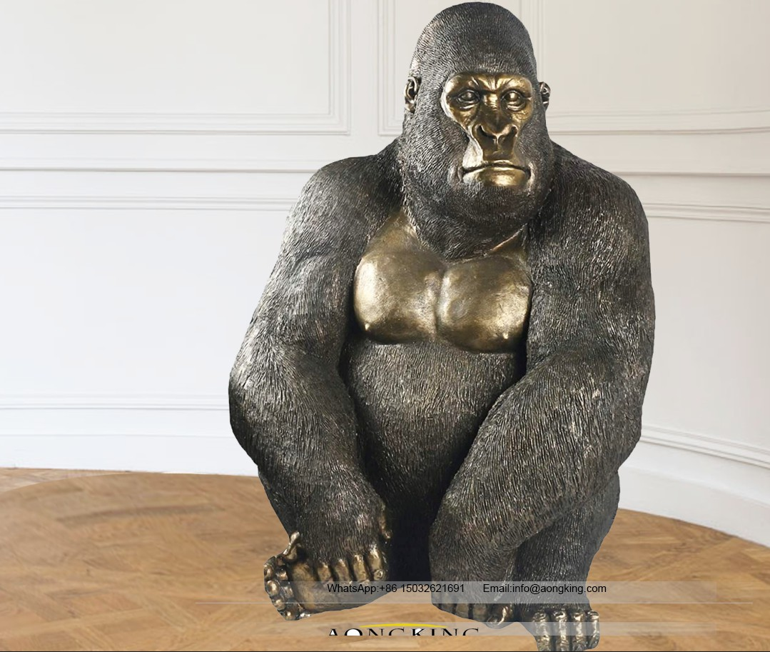 Bronze life size asiatic apes statue