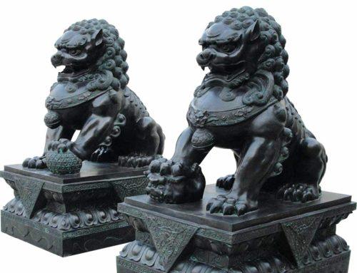 Chinese animal sculpture of lion dog bronze sculpture