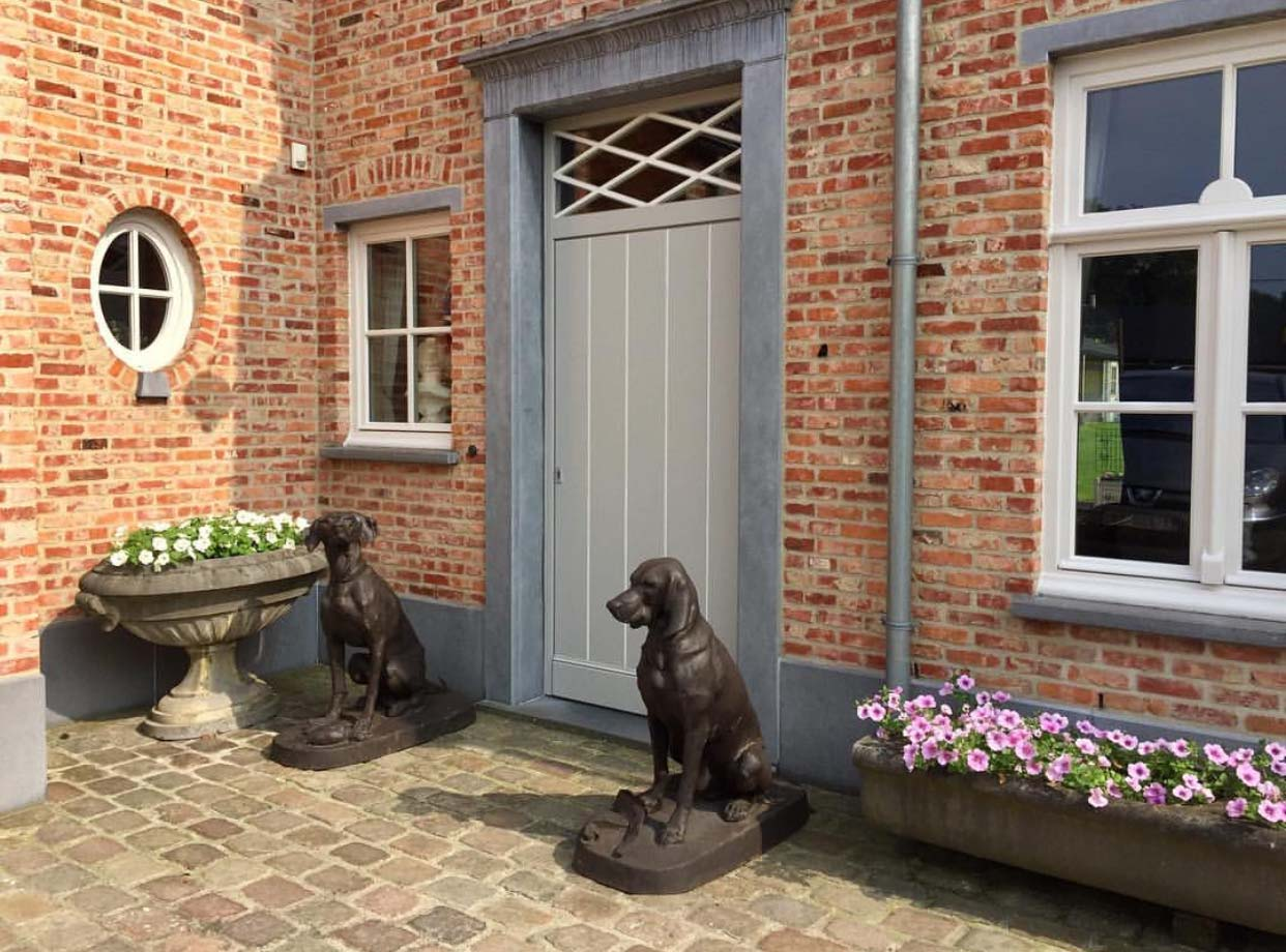 Lovely Outdoor Bronze Couple Hounds Garden Ornament Statues
