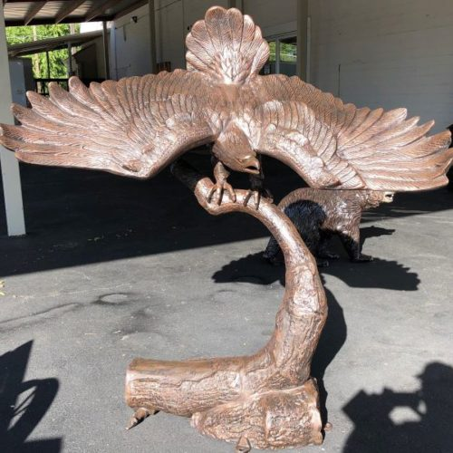 Decorative Art Bronze Large Outdoor Eagle Statue on Branch