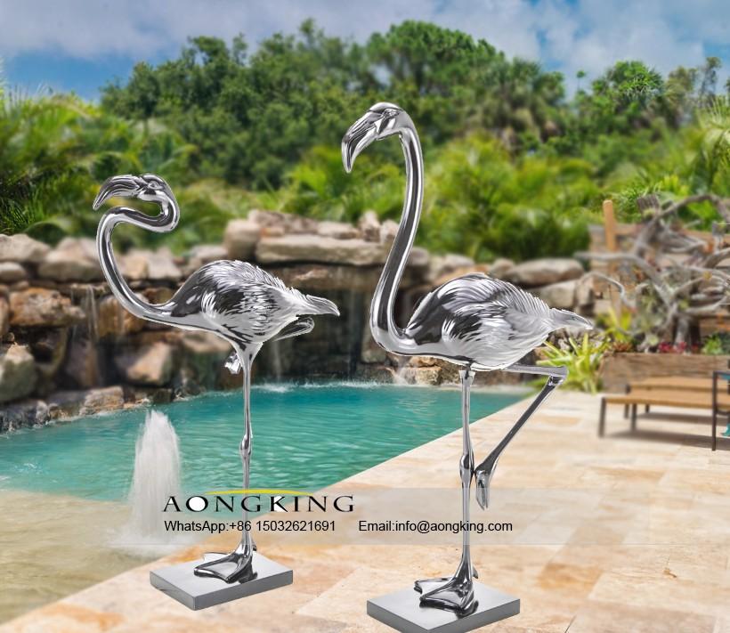 Flamingo bird steel sculpture