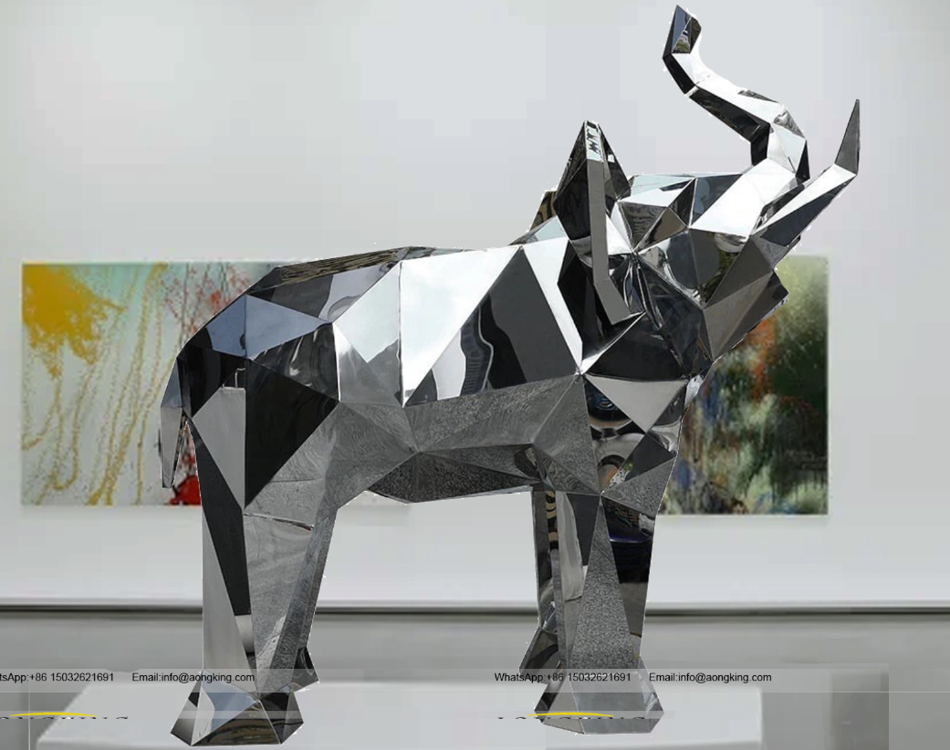 Hot Sale Geometric design Stainless steel elephant sculpture
