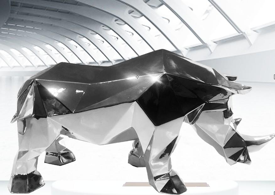Geometric shape rhinoceros sculpture