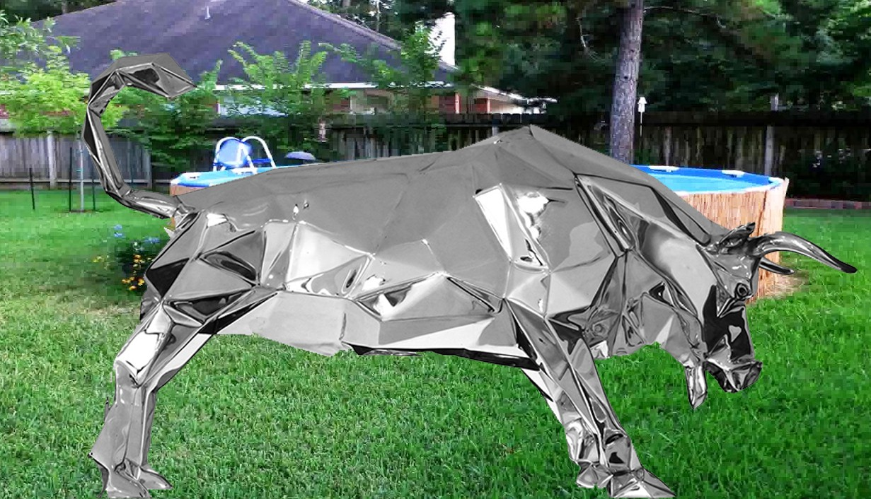 Geometric shape statue of animal bull