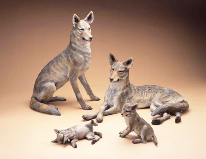 Grey wolf sculptures
