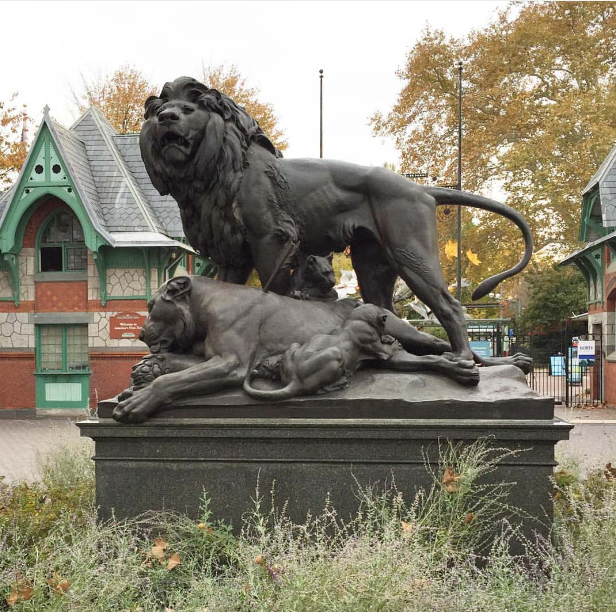 Hot selling handmade contemporary bronze lion group for outdoor decoration