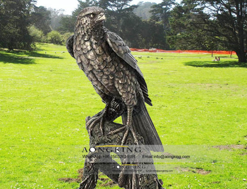 Garden bronze Peered falcon on the branches sculpture