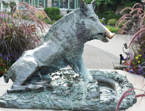 Porcellino wild animal fountain bronze sculpture