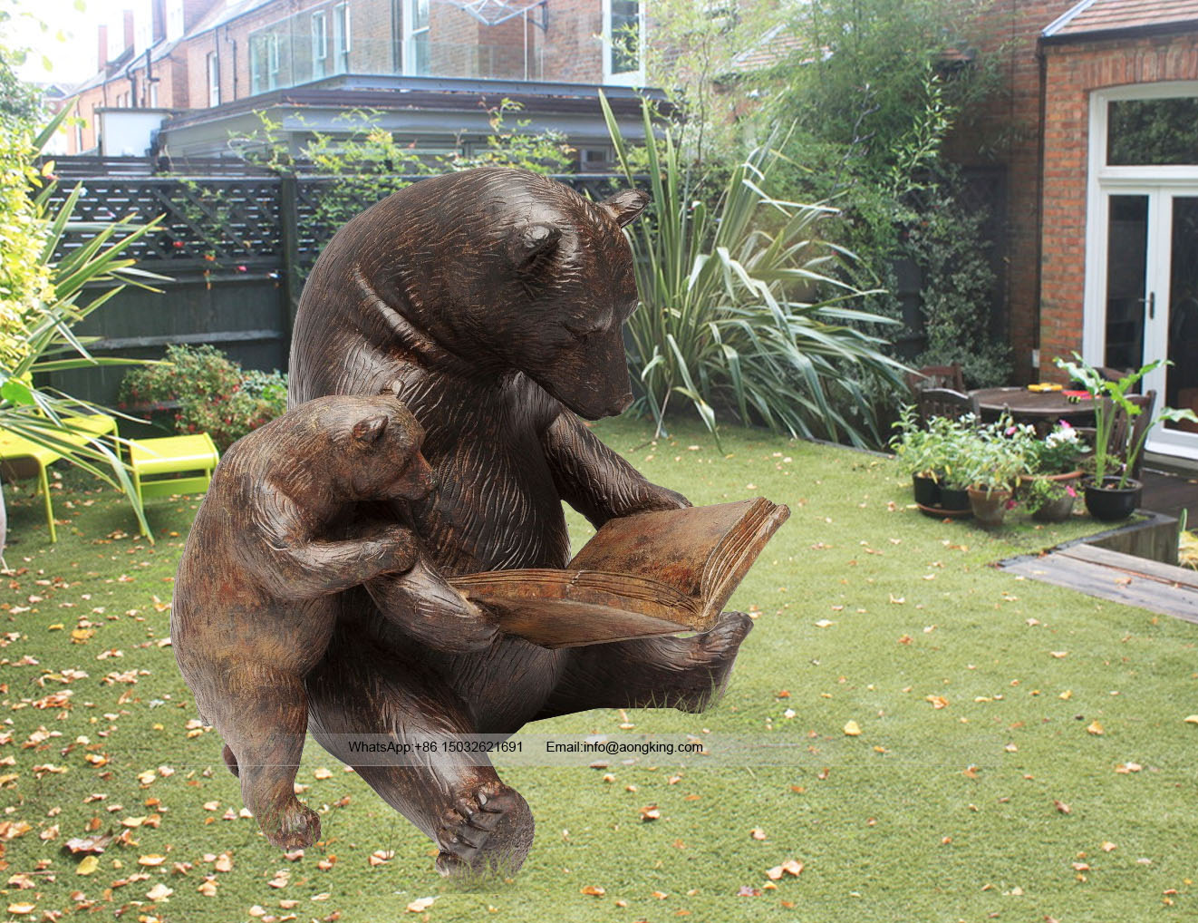 Reading book bronze grizzly bear statue