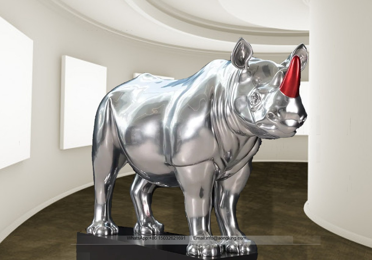 Rhinoceros statue with red horn