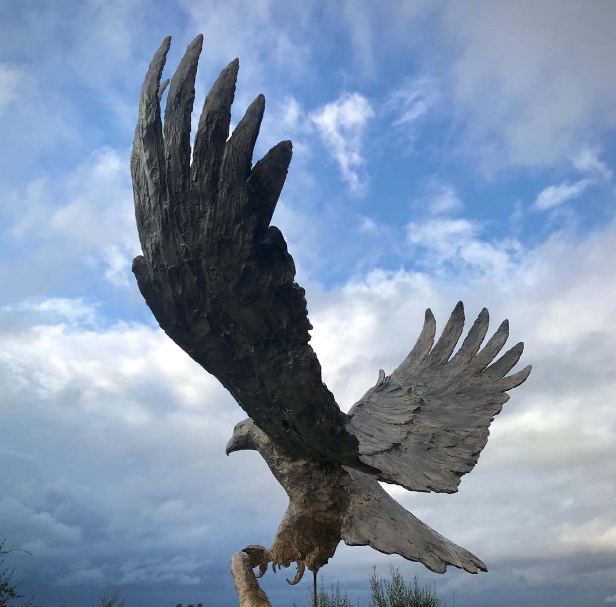 Outdoor Decor Casting antique bronze spreading wings eagle Sculpture