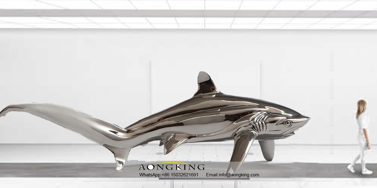 Stainless steel thresher shark statue