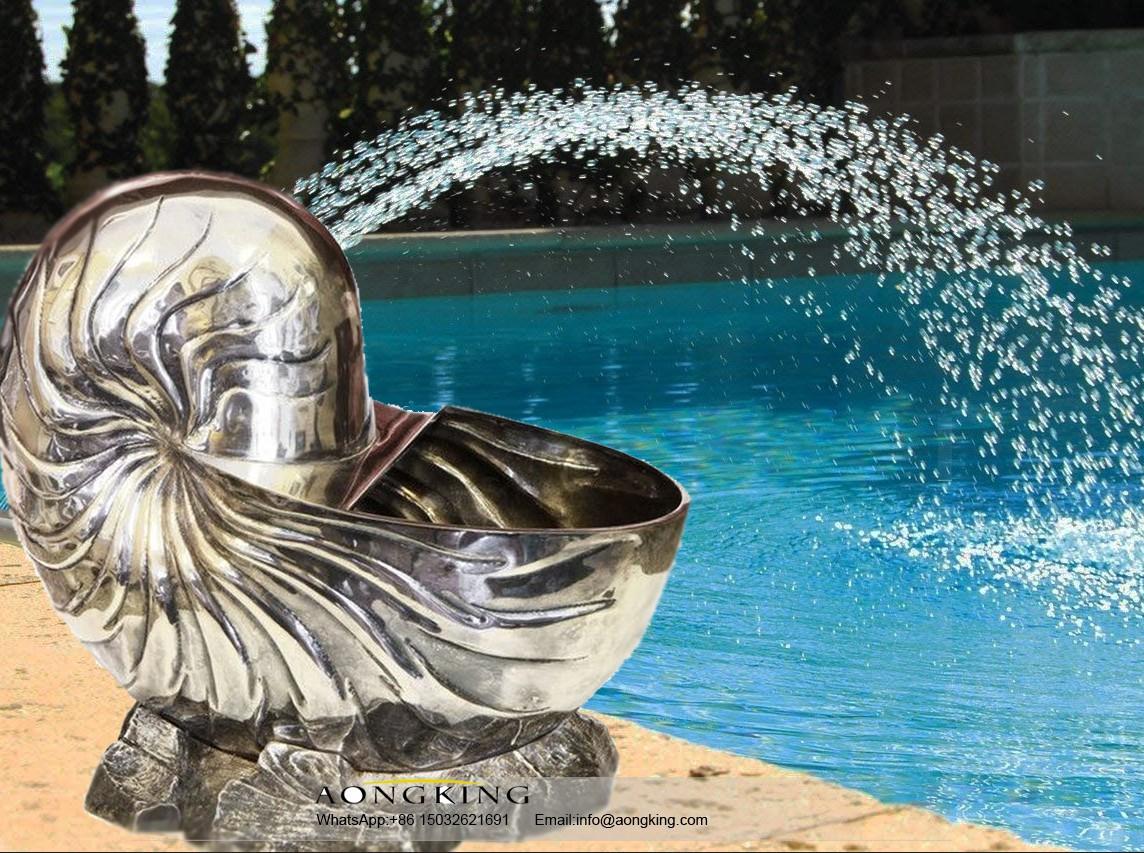 Steel sculpture mollusk snail shell statue