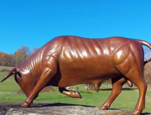 Outdoor life size bronze art Taureau animal bull statue