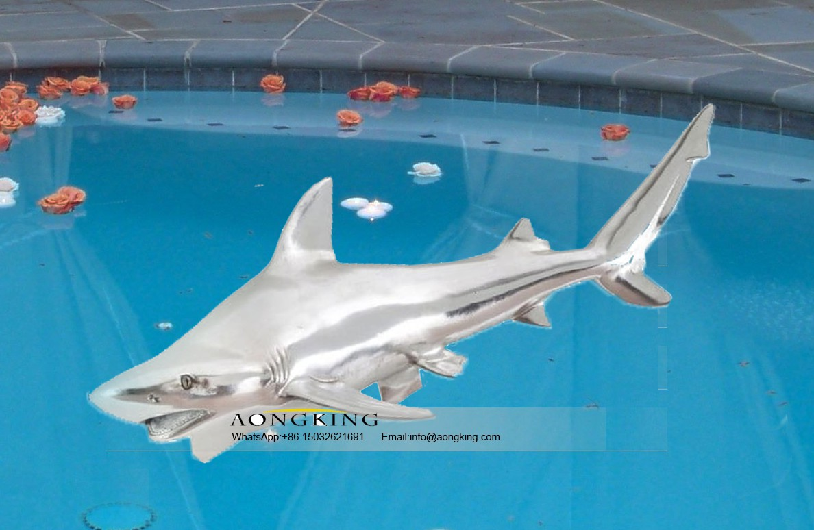 Tiger shark stainless steel sculpture