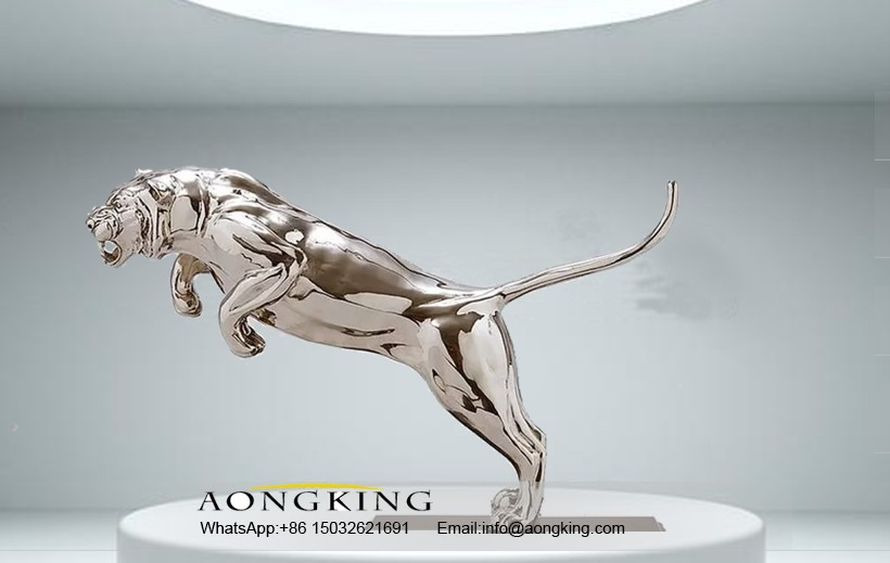 Tiger statue in stainless steel