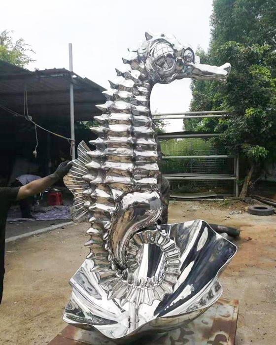 Titanium outdoor stainless steel seahorse