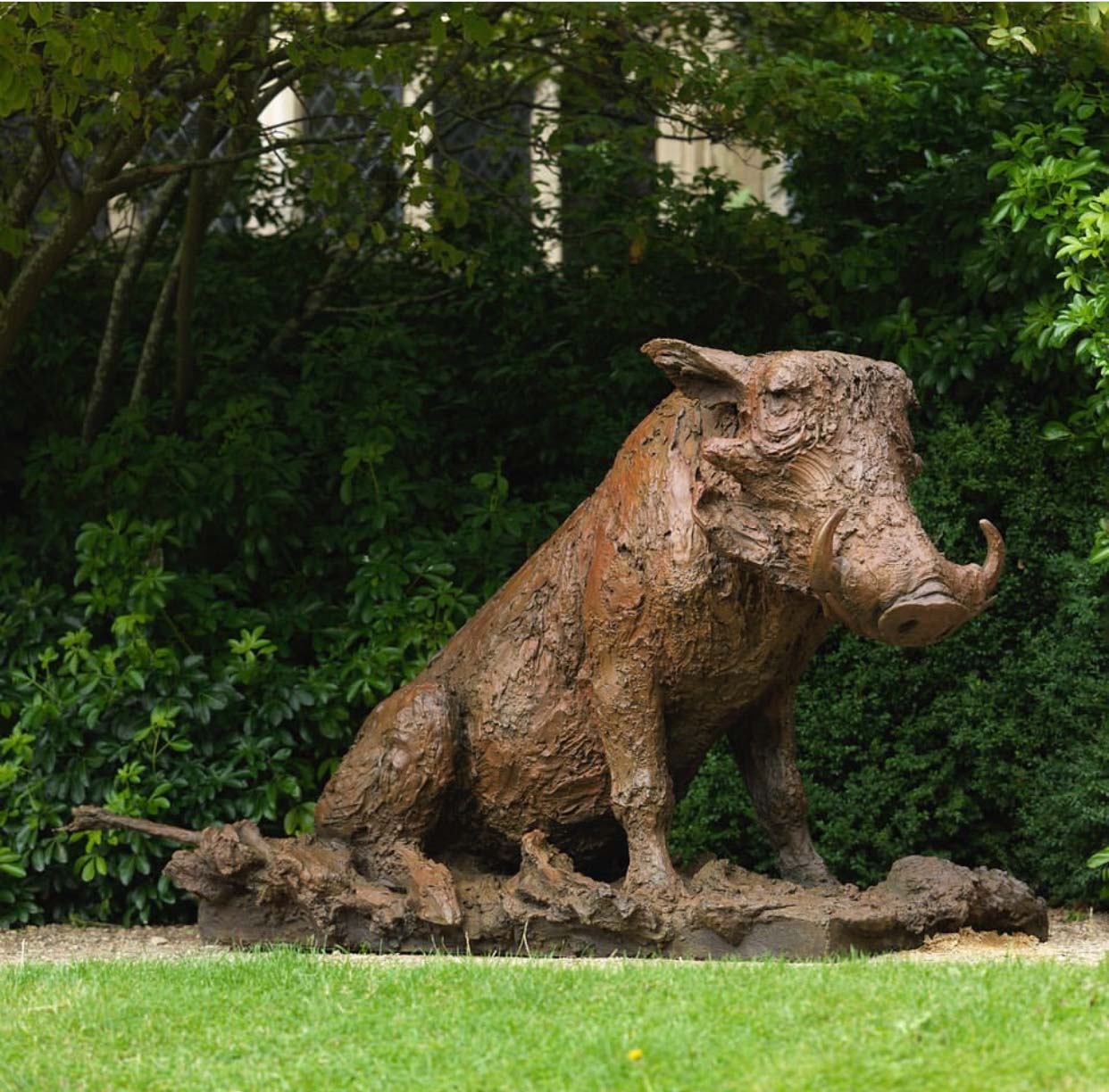 Outdoor Garden Bronze Art of Warthog Sculpture