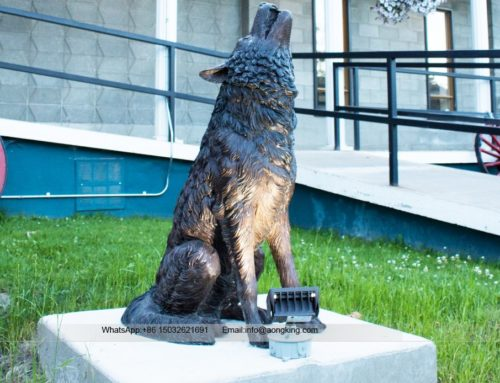 Garden howling life size bronze Wolf statue wholesale