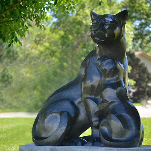 Popular Garden Outdoor Abstract Animal Art Black Tiger Statue
