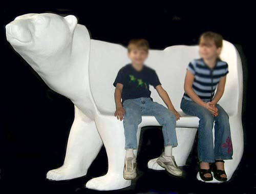 Resin Creative Bear Bench Sculpture for Kids Furniture