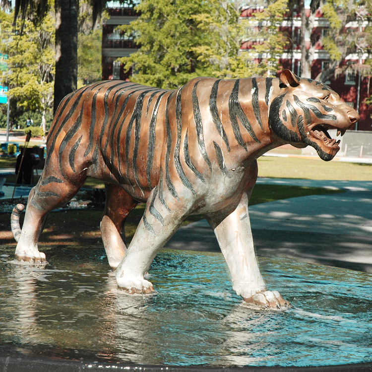 Large Outdoor Life Size Vintage Black Tiger Statue