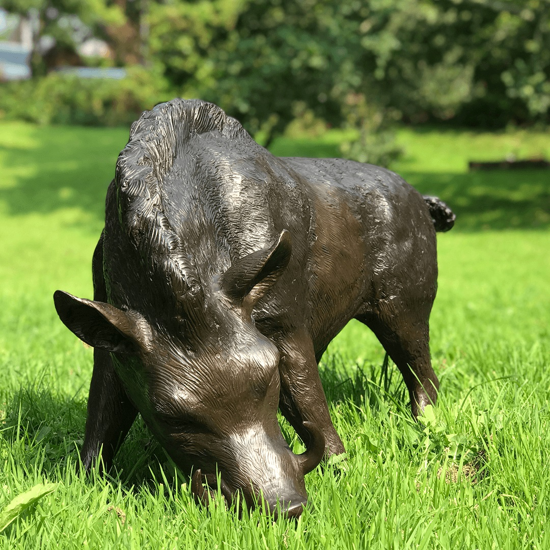 Large Pig Standing Outdoor Lawn Bronze Boar Garden Statue for Sale