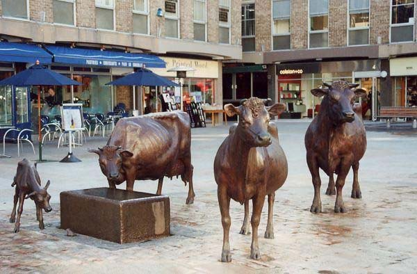 Street Animal Decoration bronze garden ornament cattle sculpture