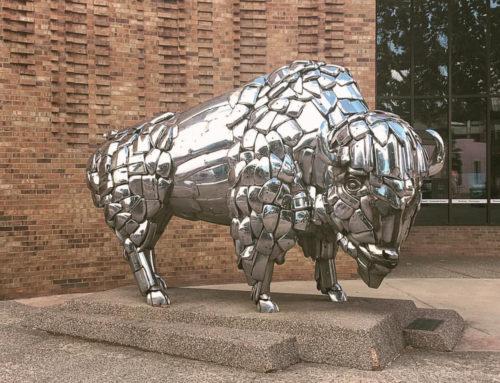 Sliver Stainless Steel buffalo sculpture for modern courtyard