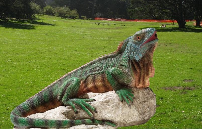 Garden Ornament Green Chameleon Fiberglass Sculpture
