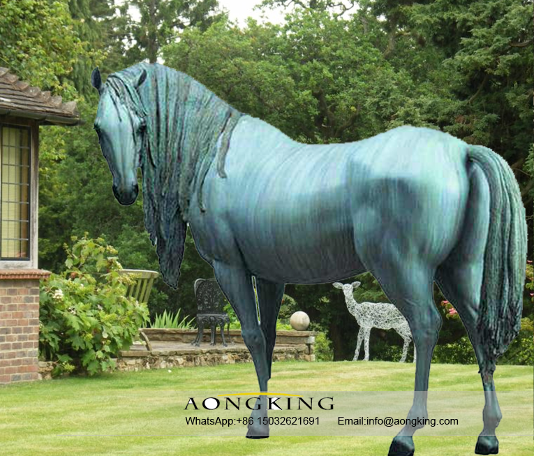 Life size decorative metal horses outdoor