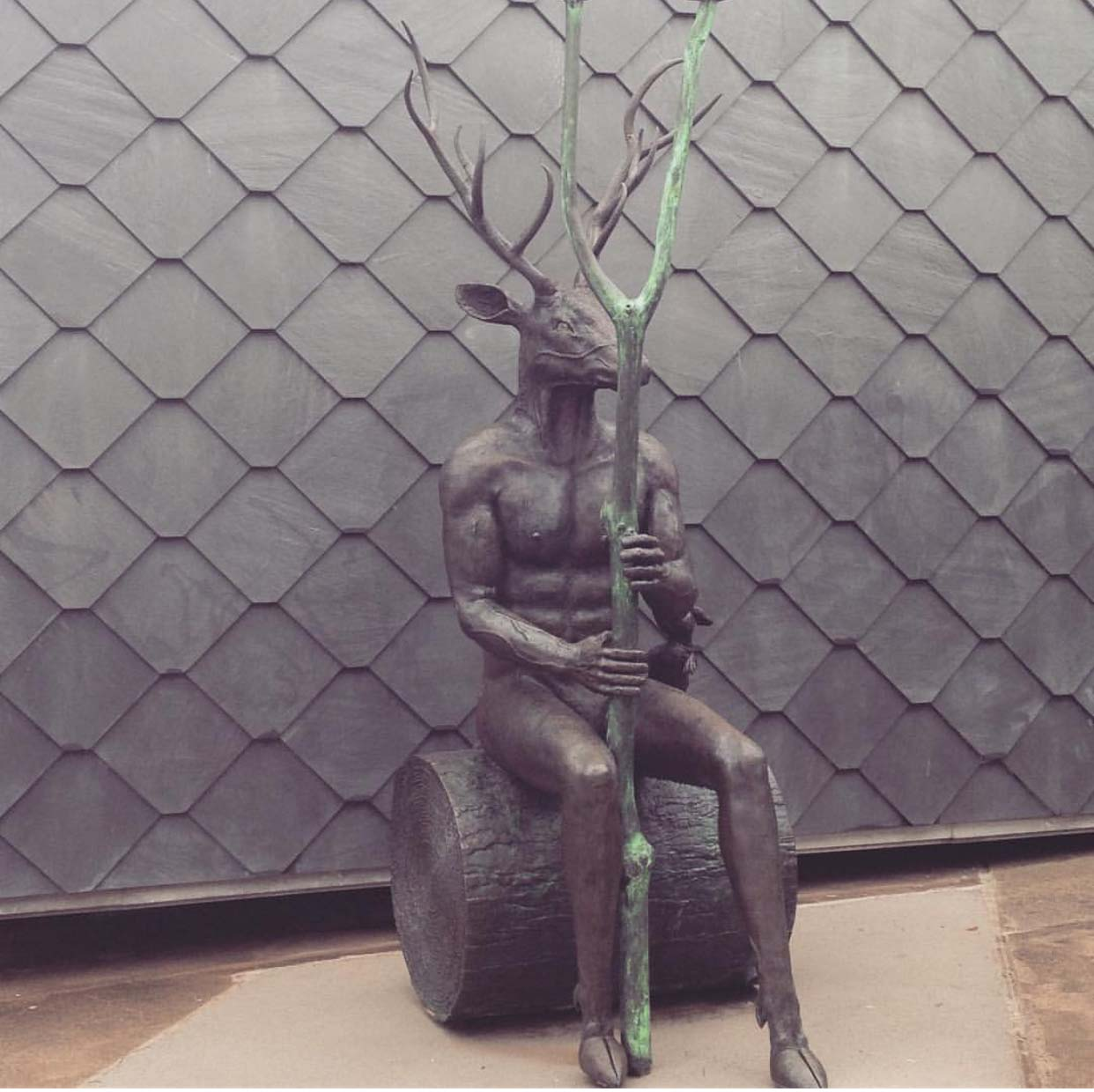 Abstract Bronze Art of Deer Head Man Sculpture