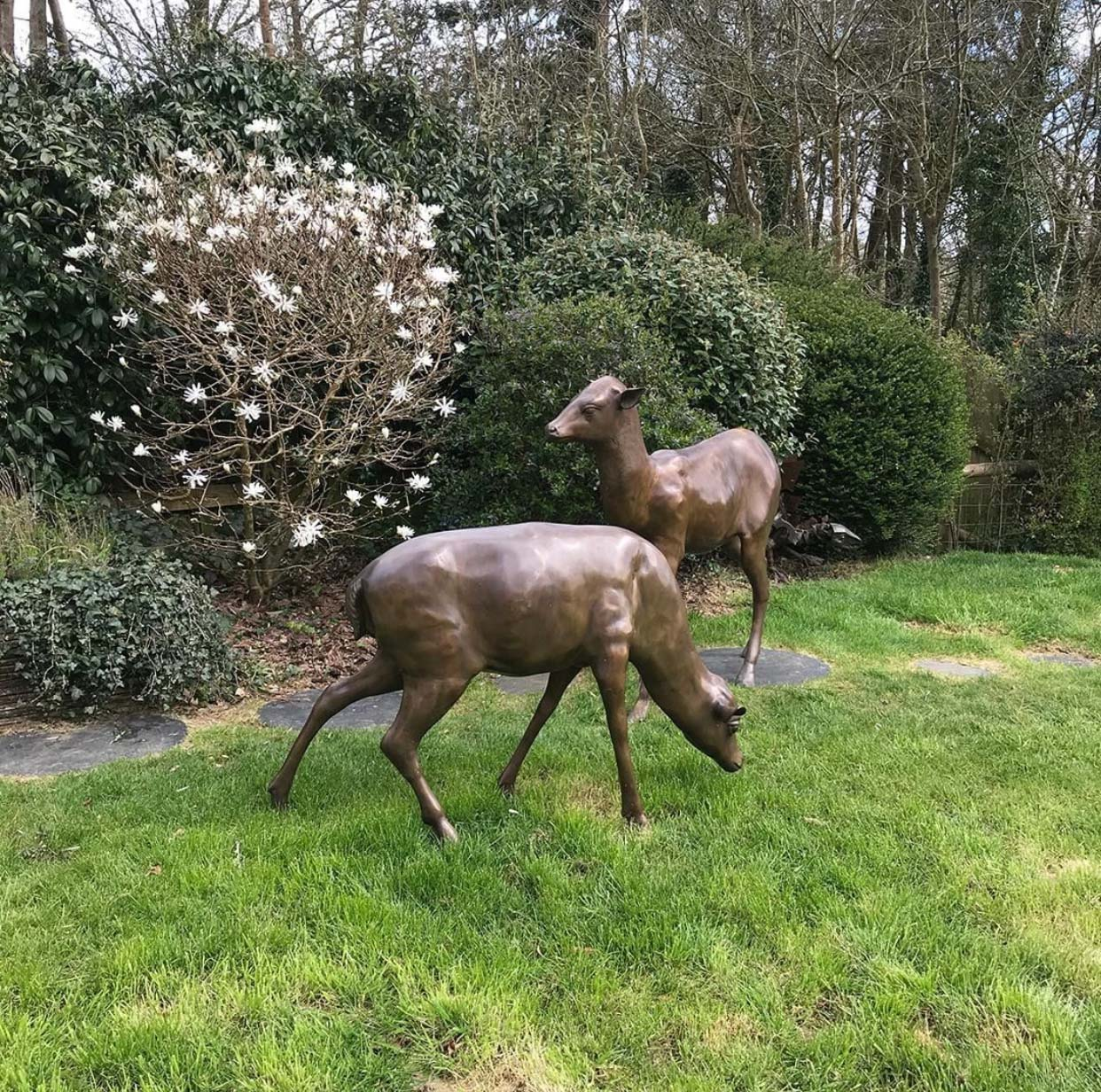 Life Size Outdoor Bronze Deer Yard Ornaments