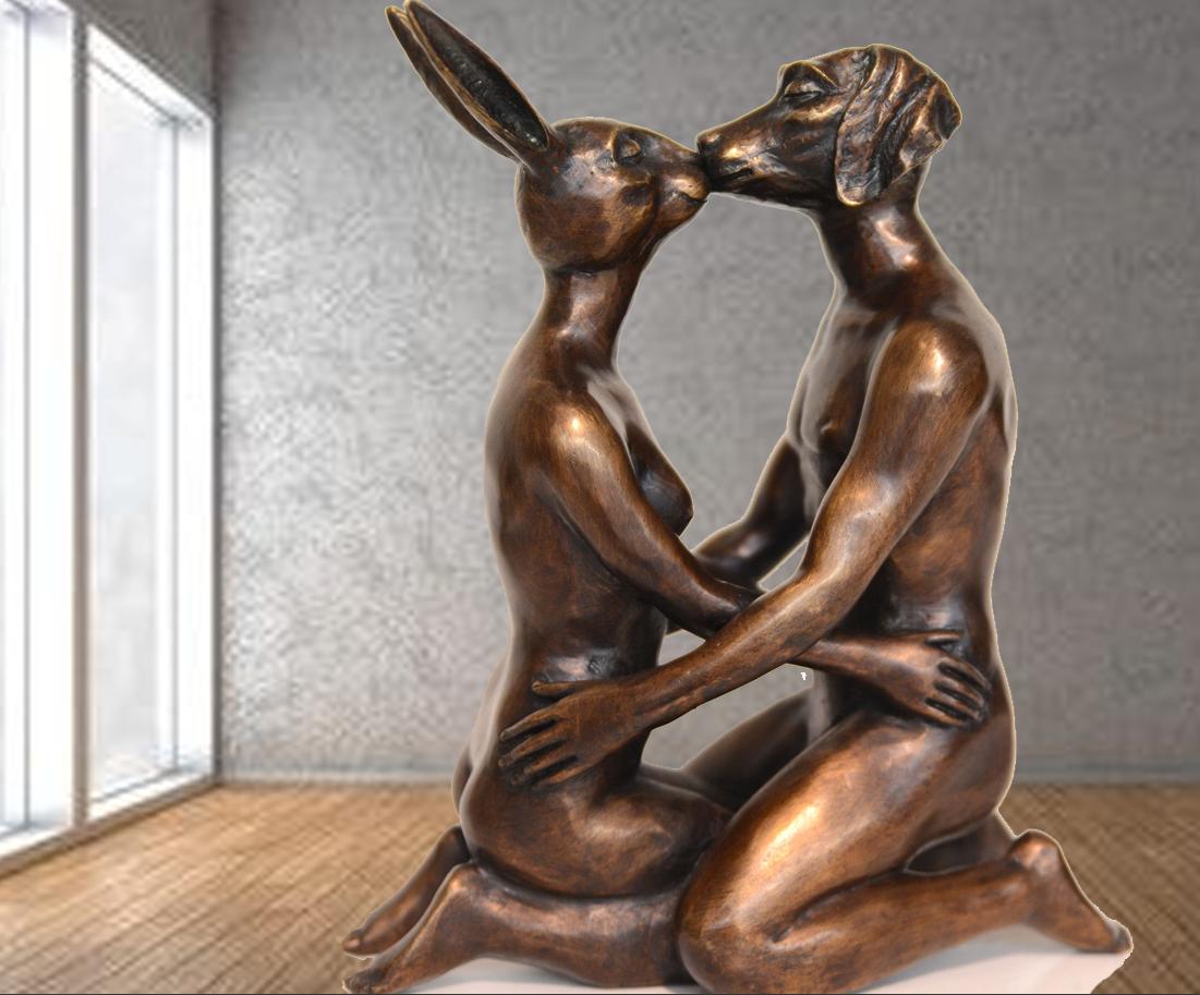 Full modern feeling of dog and rabbit sculptures