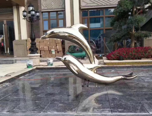Fountain Decoration Golden Stainless Steel Dolphin Statues for outdoors